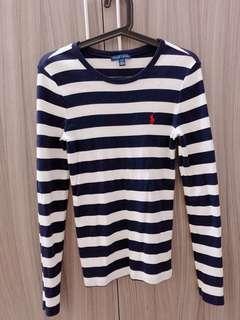 RALPH LAUREN女版條紋上衣(藍白條紋)