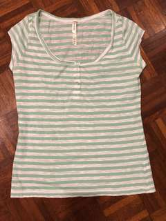 JUST JEANS Casual striped green & white t-shirt #July50