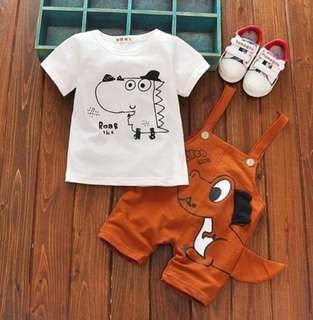 Dinosaur Design Two Piece T-Shirt Overall Suit