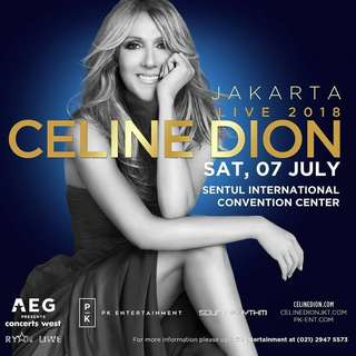 Tiket Celine Dion ( sudah berbentuk entrypass )