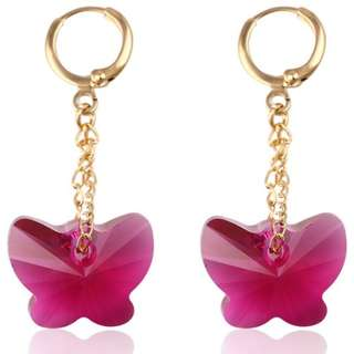 [E-138] Swarovski Rose Butterfly Gold Plated Earrings
