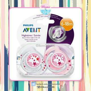 "‼️RESTOCK‼️ AVENT Pacifier ""NightTime"" (6-18m+)PINK STAR"