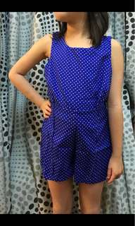 Kids Girl 2pc Rompers Free Size -  Blue Dot
