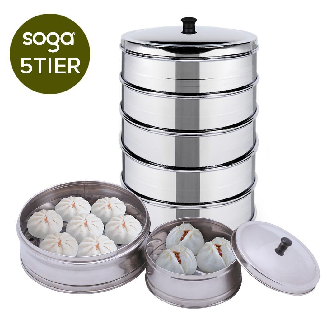 5 Tier Stainless Steal Steamers With Lid Work inside of Basket Pot Steamers 28cm