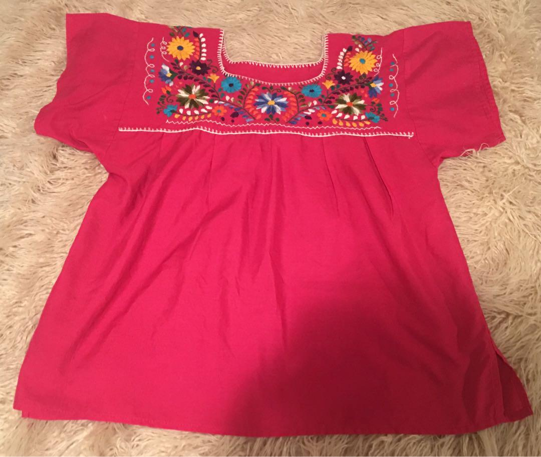 Boho embroidered top pink - free size