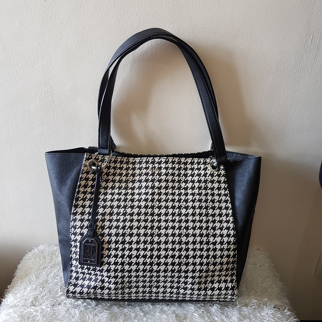 f8cacdeb83e1 CLEARANCE SALE  Authentic Ralph Lauren Aiden Houndstooth Tote Bag ...