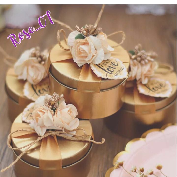 In Stock Gold Red Tin Wedding Box Engagement Gifts Door Gift
