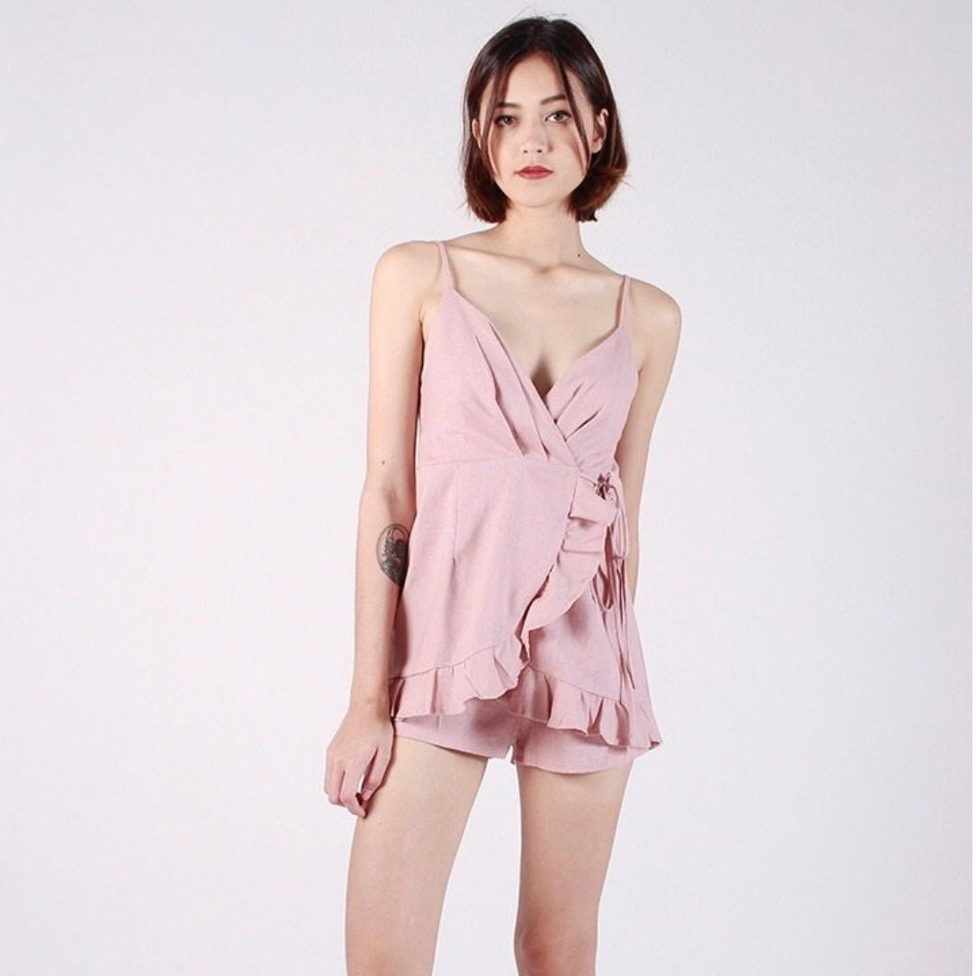 9b0602f3f0a INSTOCKS Wrap around playsuit romper - dusty pink