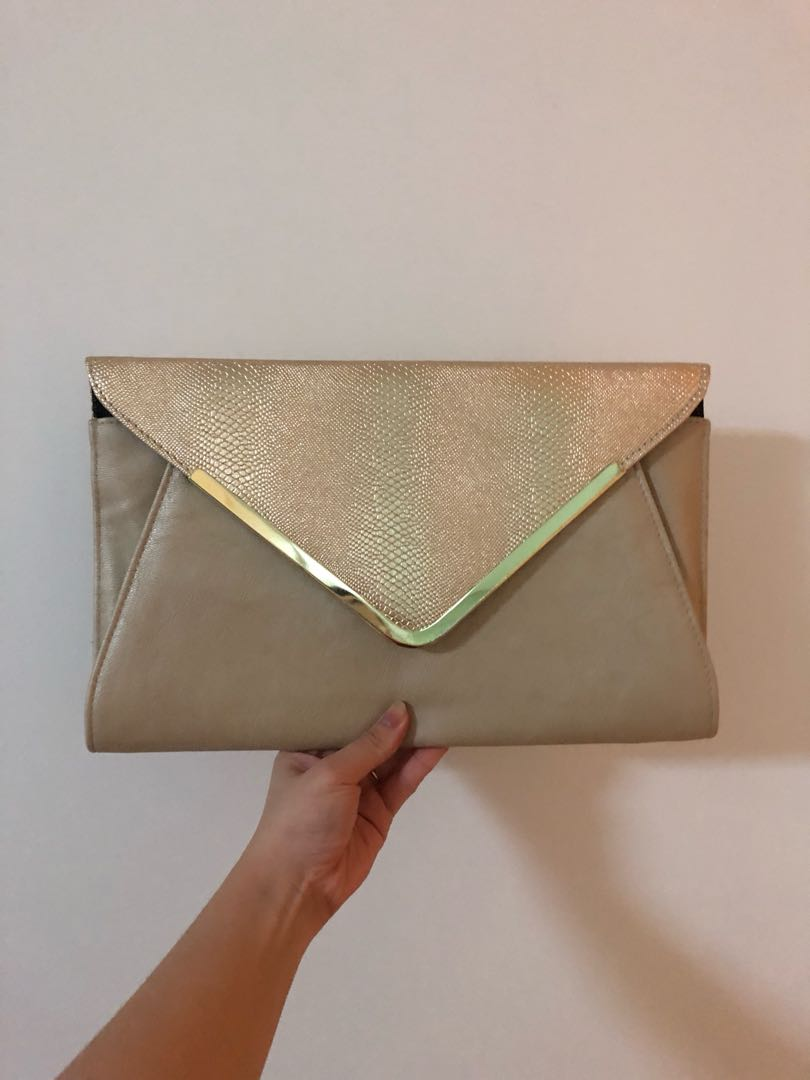 b91e7503cbf Large gold Colette envelope clutch, Women's Fashion, Bags & Wallets ...
