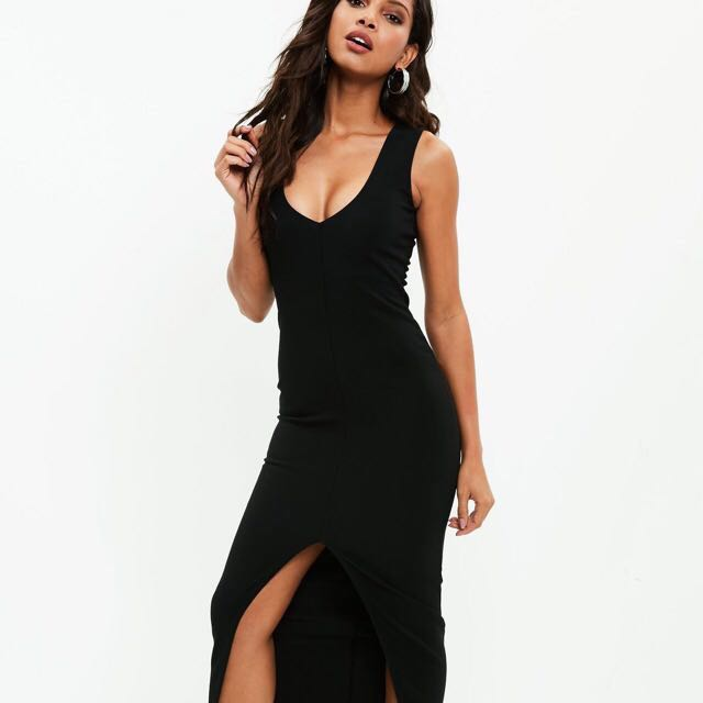 f8080d71ca Missguided Deep V Sexy Ribbed Maxi Dress in Black