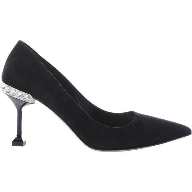 b496dfd53 Miu Miu Black Suede with Jeweled Trim Pumps, Women's Fashion, Shoes ...