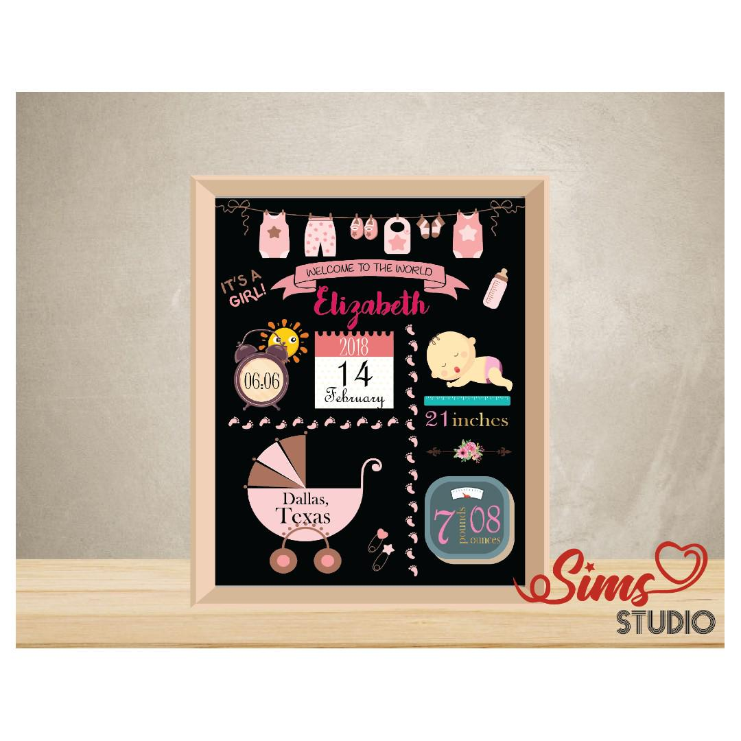 picture regarding Printable Baby Announcement identify Custom made Delivery Figures Chalkboard, Clean Born Child Woman