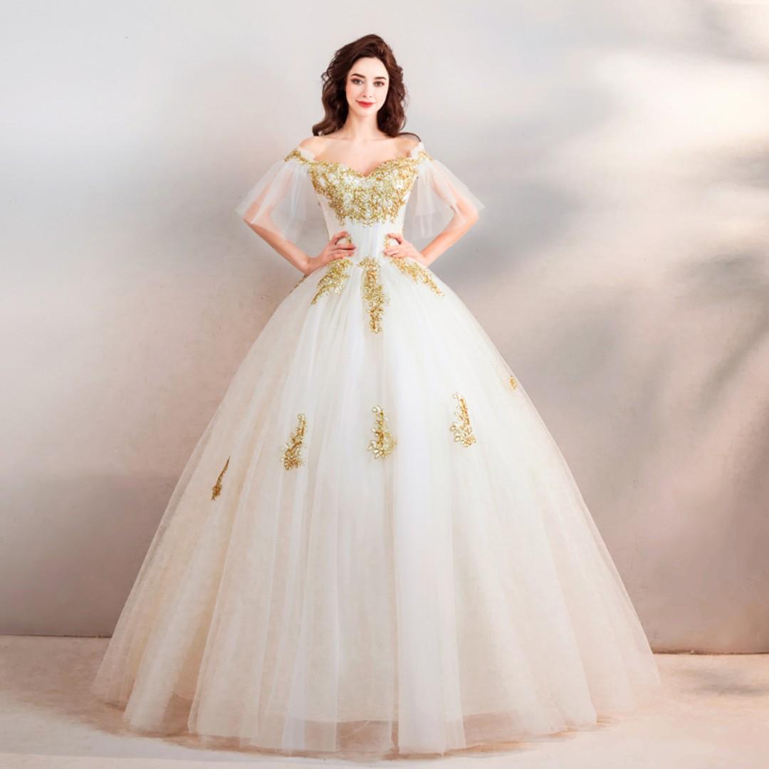 pre order white gold off shoulder prom bridesmaid wedding bridal ...