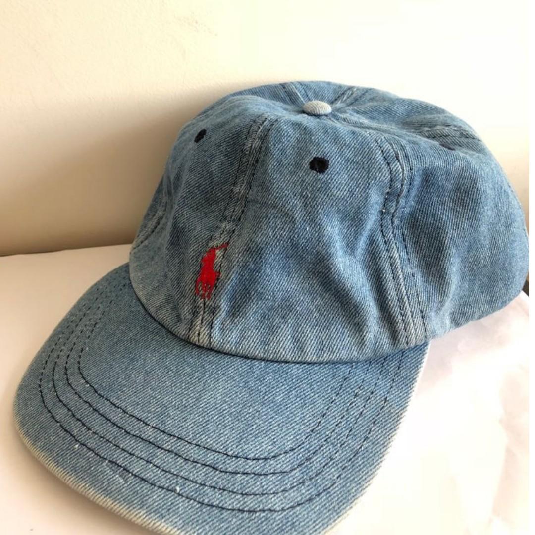Vintage Polo Ralph Lauren Denim Baseball Cap 279310683eb
