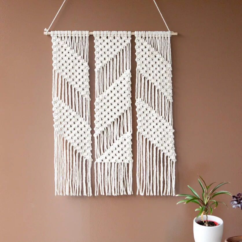 Wall Decor Screen Partition Door Curtain Macrame Rope Art, Furniture, Home  Decor On Carousell