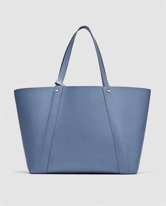 e5495a0d0c10 ZARA Reversible Tote Bag (Blue)