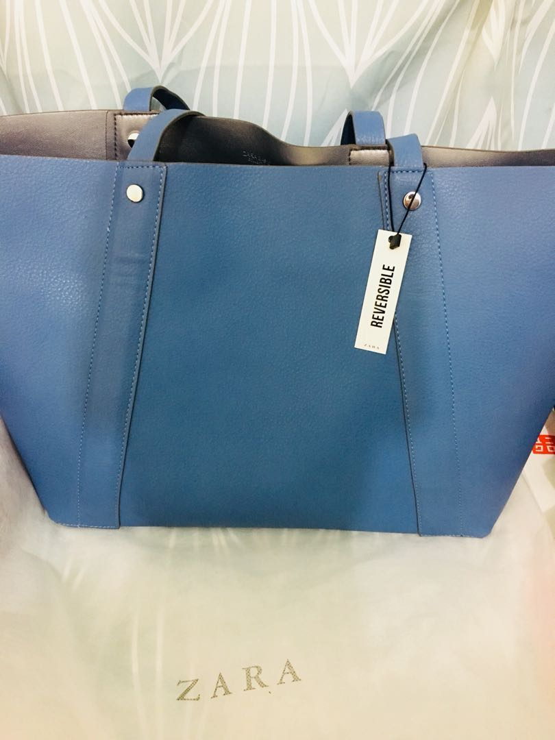 9365e25e2e15 Zara Reversible Tote Bag (Blue Grey)