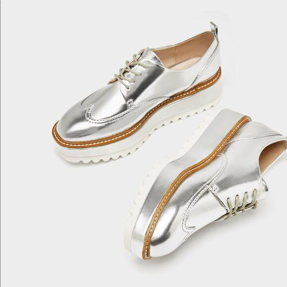ZARA Silver Platform Brogue Shoes
