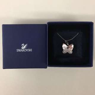 Swarovski necklace crystal butterfly light amethyst mini pendant necklace 施華洛世奇頸鏈粉紫晶蝴蝶