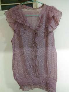 🚚 雪紡 紫粉上衣
