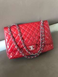 Chanel Jumbo Red Patent SHW
