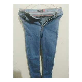 Naara Highwaist Skinny Jeans Pocket In Light Blue