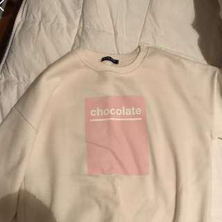 White/pink block sweater