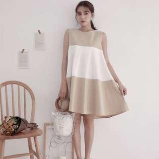 🚚 韓國 撞色後線條A字洋裝
