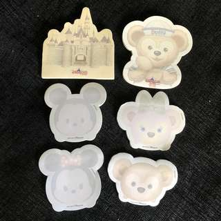 Instock HK Disneyland Duffy, Shelliemay, mickey, minnie, castle sticky post it notepads