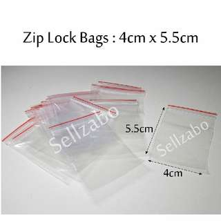 5.5cm x 4cm : Zip Lock Bags : 10 Pcs : Thin : Plastic : Store : Storage : Sell : Sellers : Selling : Small : Items : Stuff : Accessories : Use : Keep : Organize : Stationery : Stationeries : See Through : Clear Colour : Sellzabo