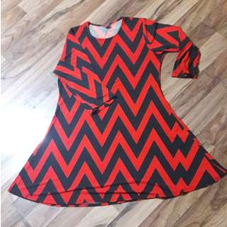 🚚 🔴PLUS SIZE Red and Black Zig Zag Dress/Top