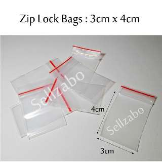 4cm x 3cm : Zip Lock Bags : 10 Pcs : Thick : Plastic : Store : Storage : Sell : Sellers : Selling : Small : Items : Stuff : Accessories : Use : Keep : Organize : Stationery : Stationeries : See Through : Clear Colour : Sellzabo