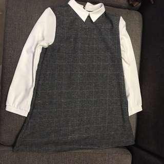 🚚 韓系氣質深灰色拼接洋裝