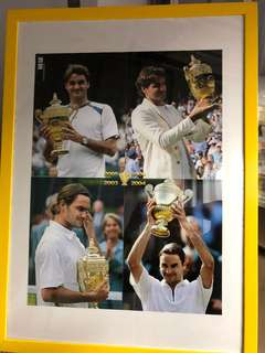 Roger Federer's Poster in yellow Frame