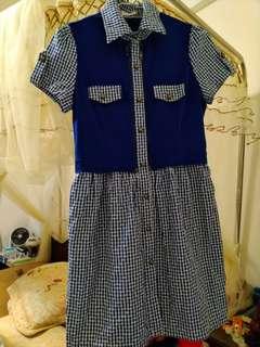 🚚 藍格子牛仔風格洋裝