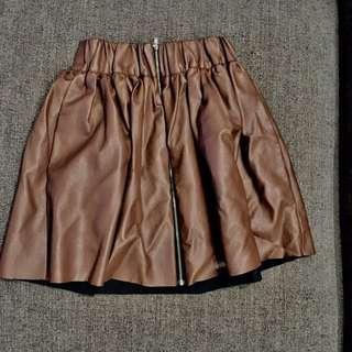 🚚 正韓咖啡色皮裙 短裙 可可色 棕色 韓貨