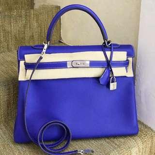Hermès Kelly 35 7T電光藍 + 希臘藍🔥拼色 EPSOM 皮 白線 限量版🦋品相超級好👌🏻價格特好Hkd 6xxxx
