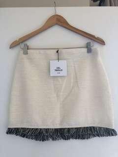 Zara Trafaluc - Cream SS/18 Miniskirt w Black Fringe - Medium