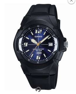 Casio® Mens Blue Dial Black Resin Strap Sport Watch MW600F-2AVWT