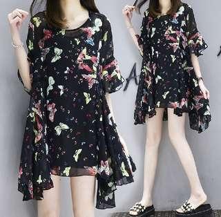 77882 #大碼顯瘦吊帶+雪纺連衣裙兩件套   颜色:黑色  尺码:XL 2XL 3XL 4XL 5XL