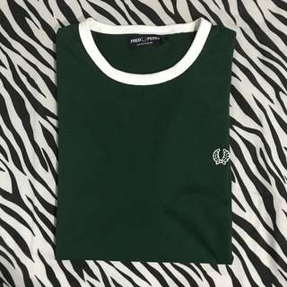 Fred perry authentic sports ringer ivy green kaos sz l ori