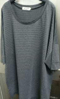 🚚 新出清、色簽筆灰條紋長T也可做裙