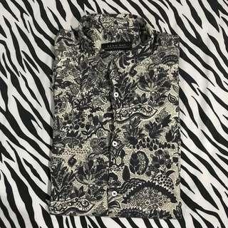 Kemeja lengan panjang motif batik casual formal zara man ori
