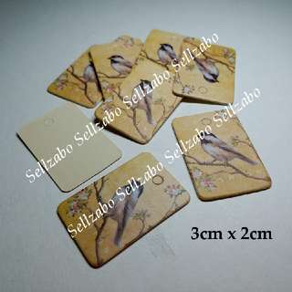 3cm x 2cm : Tags : Labels : 10 Pc : Rectangle : Cards : Sell : Sellers : Selling : Items : Stuff : Accessories : Clothes : Clothings : Size : Brown Colour : Birds : Sellzabo
