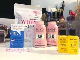 Ponds B.B. Magic Powder, Snail White Whipp Soap & Mimi White AHA Serum