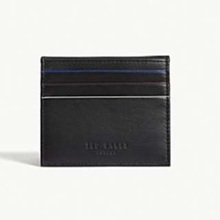 TED BAKER Striped piping leather card holder