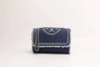Tory Burch Fleming Convertible Shoulder Bag Denim