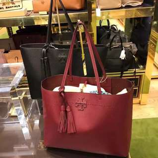 Tory Burch McGraw Tote Bag - maroon