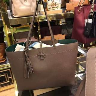 Tory Burch McGraw Tote - greyish brown