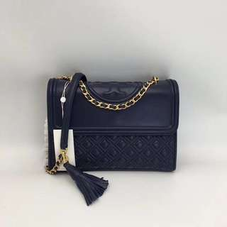 Tory Burch Fleming Convertible Shoulder Bag - navy blue
